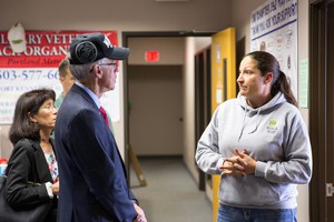 Dr. Bud Pierce, left, Republican candidate for governor on the campaign trail in September.