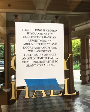 Portland leaders closed City Hall to the public Thursday, to avoid disruptions from activists.