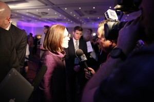 Brown celebrated her victory with other Democrats during an election night party at the Oregon Convention Center inPortland.