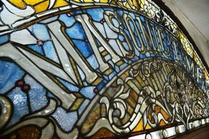 Frank Duff — Antique American Stained Glass Windows near Helix, Oregon — bought this stained glass window from a Masonic lodge in Saginaw, Michigan.