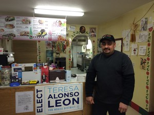 Felix Santana says he met Teresa Alonso Leon when she dropped a campaign sign off at his family's restaurant in downtown Woodburn.