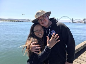 Stephan Baker and Julia DuBois got engaged during the total solar eclipse in Newport, Oregon.