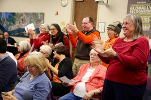 Oil terminal opponents cheered after the Port of Vancouver Board of Commissioners voted to end a rolling lease with Vancouver Energy on March 31.
