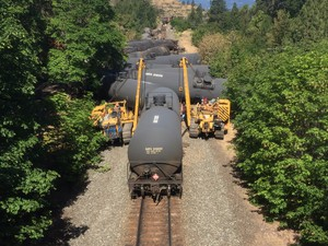 A train carrying crude oil derailed near the Columbia River Gorge town of Mosier, Oregon, in June 2016.