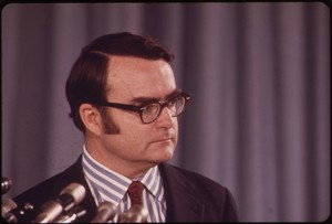 William Ruckelshaus was the first administrator of the EPA under Nixon and oversaw the initial implementation of the Clean Water Act. This photo was taken May 1972.