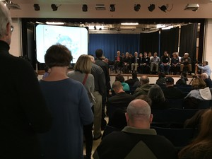 Portlanders line up to ask environmental officials questions about air toxics at a meeting at the Harriet Tubman Middle School building in February 2016.