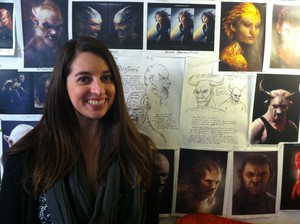 Carly Sertic draws many of the pictures for the Grimm book.