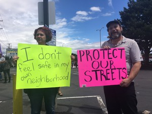 Protesters at 82nd Avenue and Foster in Portland.