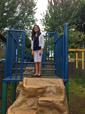 11-year-old Stephanie Alvarado says that this is the main play area at her apartment complex.