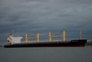 Freighter at anchor in the Columbia River off Kelly Point.