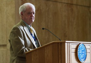 Senate President Peter Courtney speaks to the public in the rotunda of the capitol building in Salem on Thursday, May 14, 2015.