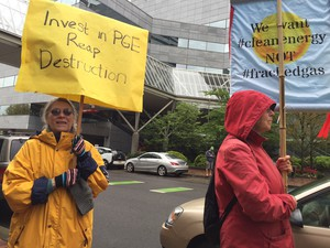 Environmentalists organized a protest to coincide with a PGE shareholders meeting in downtown Portland.