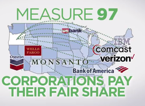 "An online ad produced by the ""Yes on Measure 97"" campaign lists out-of-state corporations whose taxes would go up if the initiative passed."
