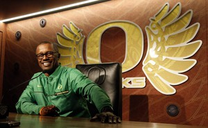 Willie Taggart is pictured here at a press conference ahead of the team's spring drills in this April 5, 2017, file photo. Taggart is leaving the Oregon program after one season to become Florida State's next head coach.