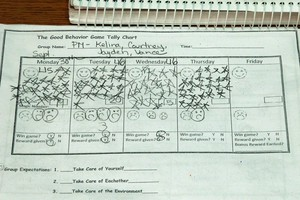 Teacher Cami Railey's keeps the scores for the 'Good Behavior Game' on a piece of paper.