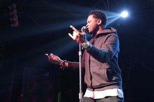 BJ the Chicago Kid performs at Roseland Theater in Portland for the Soul'd Out Music Festival on April 16, 2016.