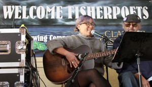 """Fisherpoet and songwriter Alana Kansaku-Sarmiento performs her song, """"Water."""""""