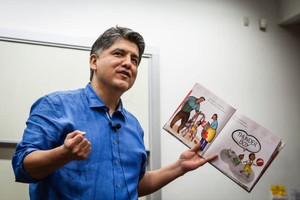 """Sherman Alexie reads from his book, """"Thunder Boy Jr.,"""" at the RED INK Indigenous Initiative for All at Arizona State University, Tempe, April 22, 2016."""