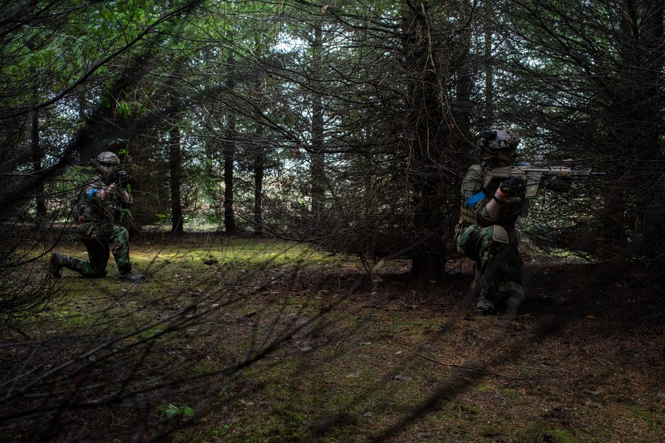 Noah Wenger and Andrew Pollmann play AirSoft at Action Acres AirSoft on March 23, 2019, in Canby, Ore.