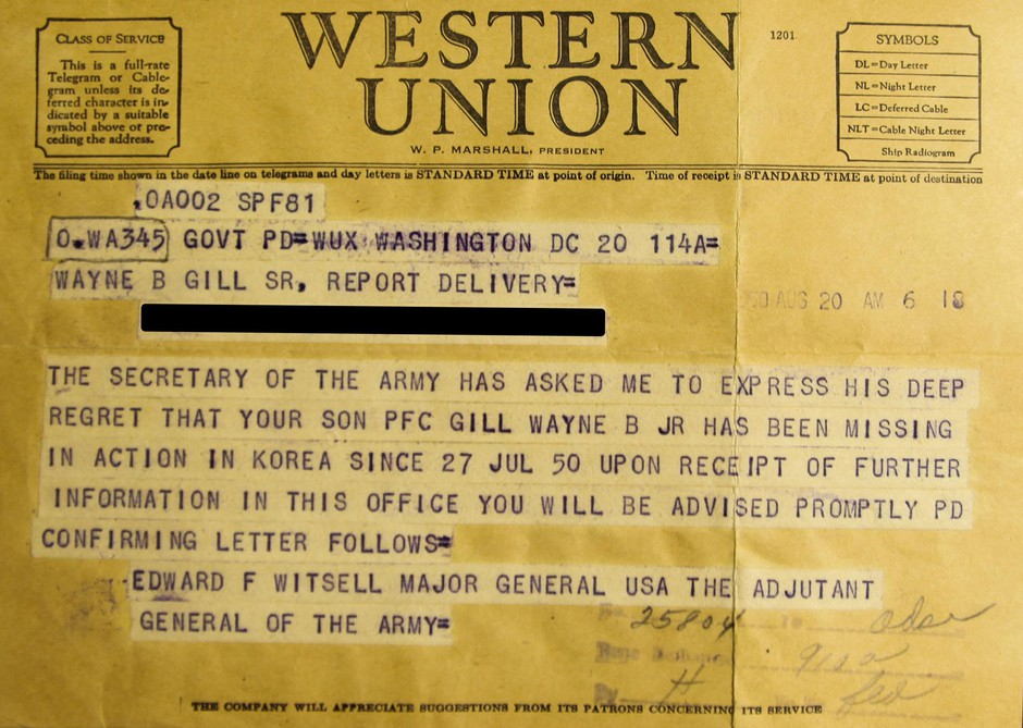 Telegram notifying Corporal Gill's parents that he was Missing In Action.