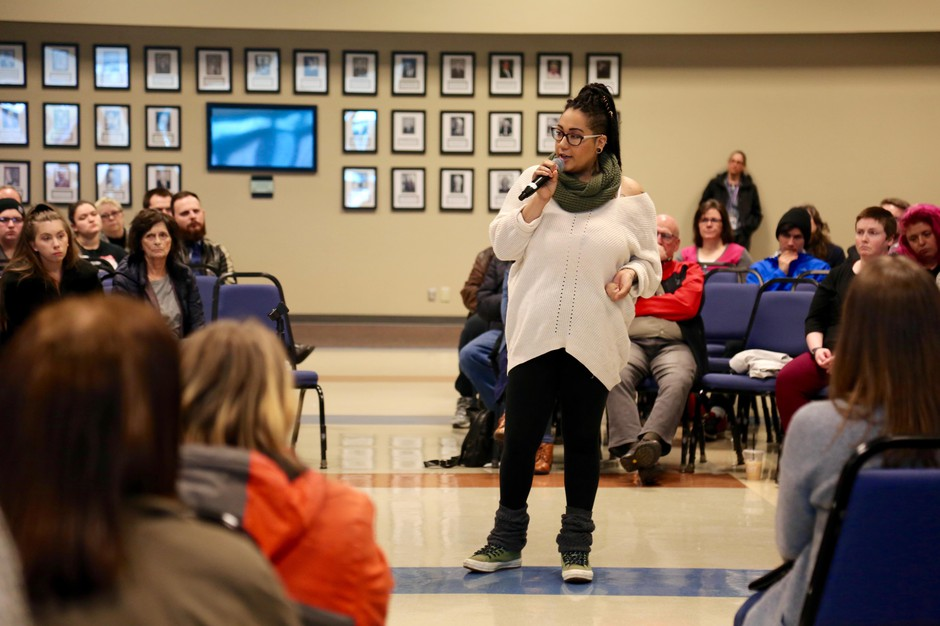 Clark College student Lexi Peterson-Burge speaks about her own experiences of racism at the school during a community forum in response to racist flyers.