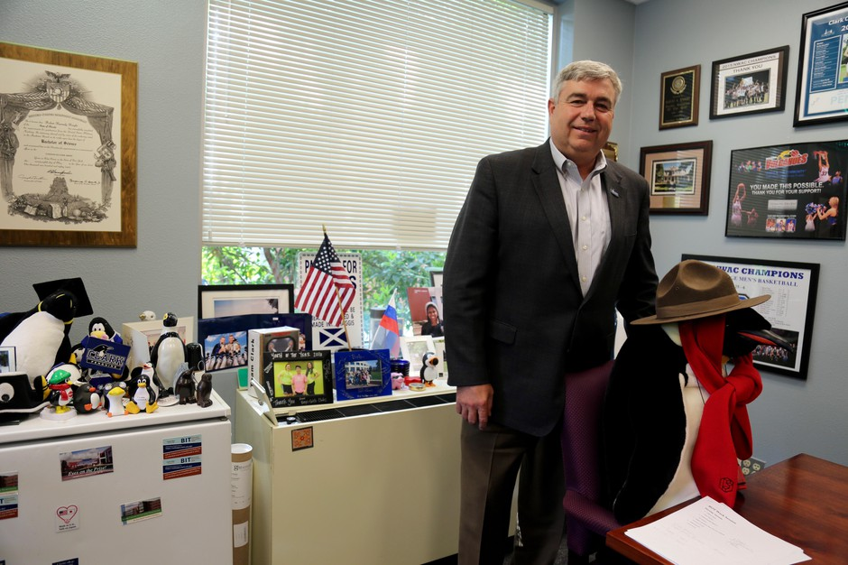 Clark College President Bob Knight in his office on campus.