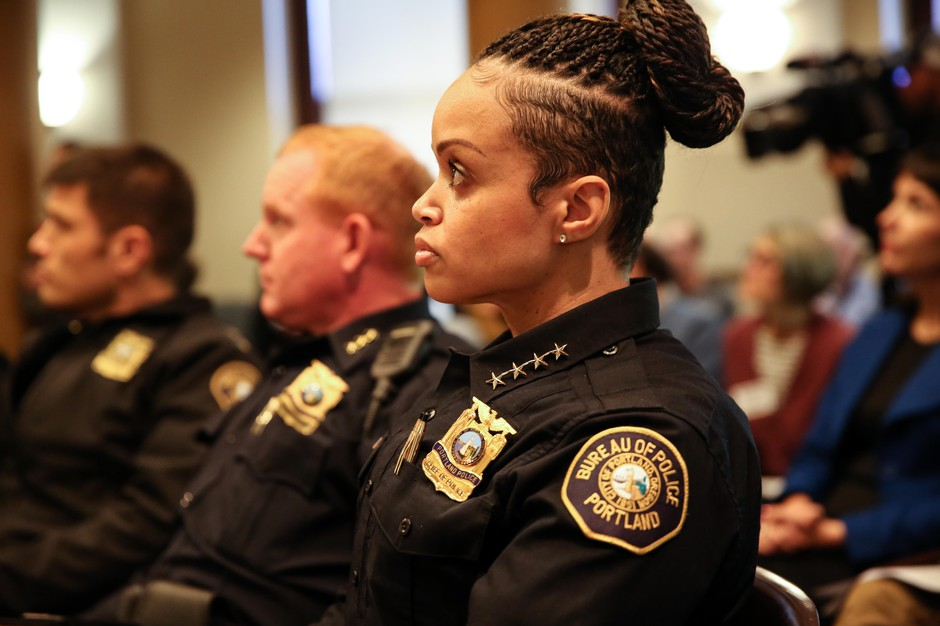 Portland Police Chief Danielle Outlaw at a City Council hearing on Mayor Ted Wheeler's proposed ordinance giving him the power to dictate the location and duration of some protests in town, Thursday, Nov. 8, 2018, Portland, Oregon.