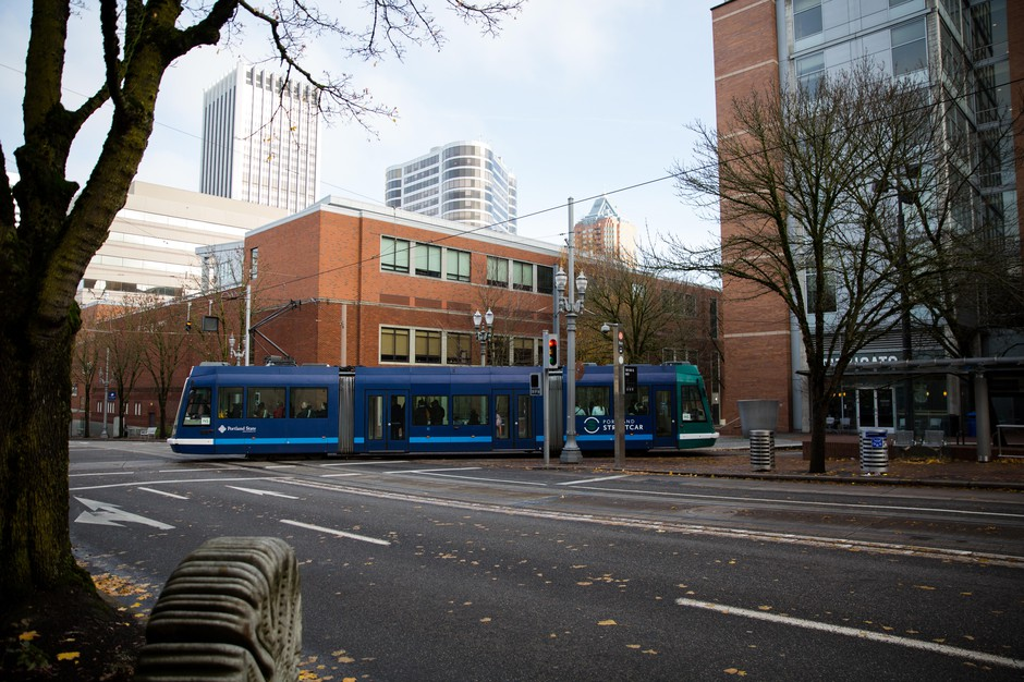 A Portland Streetcar crosses the intersection of Southwest 6th Avenue and Southwest Mill Street near where police apprehended Richard Barry, who later died in police custody on Nov. 22, 2018.