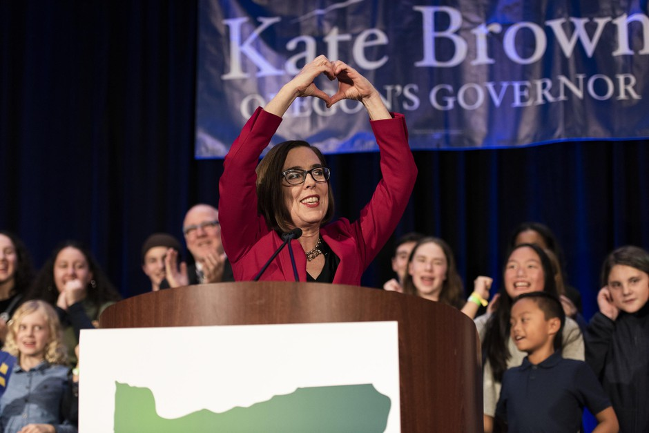 Gov. Kate Brown celebrates her Election Night victory at the Democratic Party of Oregon 2018 election party on Nov. 6, 2018, in Portland, Oregon.