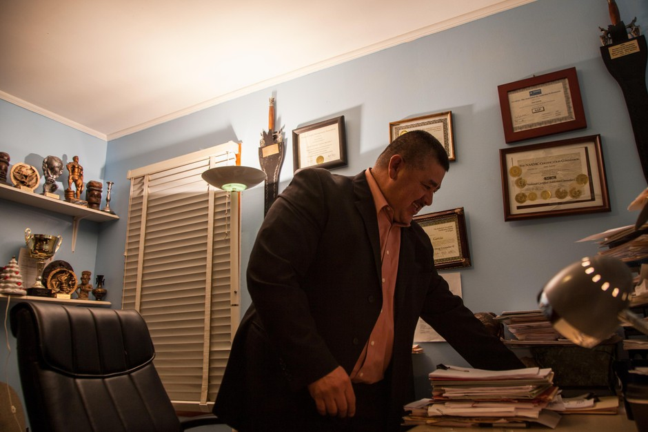 Addictions counselor Jose Garcia is pictured in his office in Hermiston, Ore., Friday, Jan. 11, 2019. Garcia started New Horizons, a substance abuse rehab services center to offer culturally specific treatment to the Latino community in Eastern Oregon.