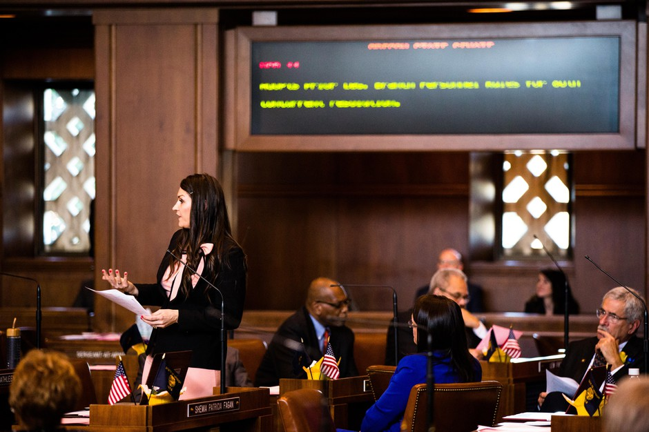 Oregon state Sen. Shemia Fagan, D-Portland, speaks on the floor of the Senate on Monday, Jan. 14, 2019, at the Oregon Capitol in Salem, Ore.