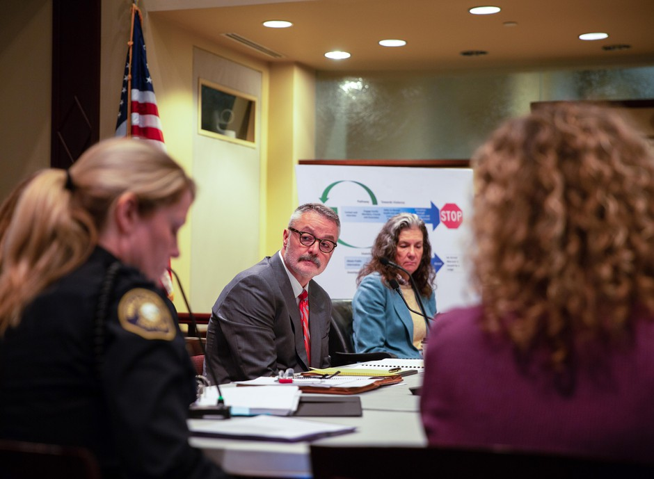 U.S. Attorney for District of Oregon Billy Williams listens during a work session discussing Portland's involvement in the Joint Terrorism Task Force at City Hall Tuesday, Feb. 12, 2019, in Portland, Ore. City commissioners are split on whether to withdraw the city from the JTTF.