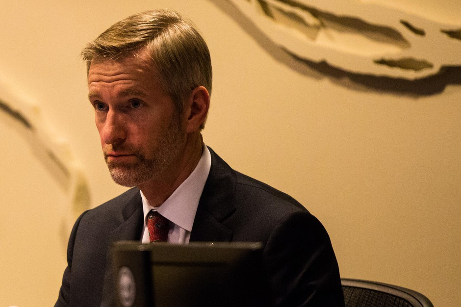 Mayor Ted Wheeler listens to testimony at City Hall in Portland, Ore., Wednesday, Feb. 13, 2019. City Council voted to withdraw Portland police from the FBI-led Joint Terrorism Task Force.