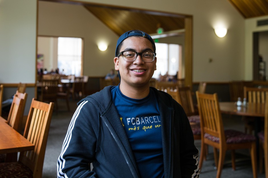Raul Marquez poses for a portrait in Goudy Commons at Willamette University in Salem, Ore., Wednesday, Feb. 27, 2019. Marquez is running for a seat on the Salem-Keizer school board, which has never included a Latino member despite the district being 40% Latino.