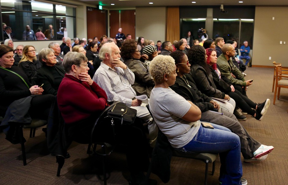 Dozens of people gather at City Hall in Vancouver, Wash., on Monday, March 25, 2019, to address city leadership on police shootings.Vancouver police shot four people, three fatally, in the span of five weeks in February andMarch.