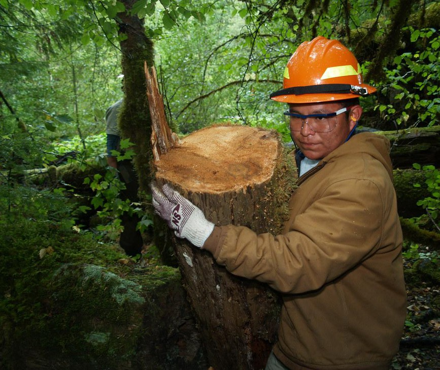 Timber Lake Job Corps Center student Marvin Nez carries a section of fallen log to be placed in the water during a streamside restoration project on the Clackamas River on Sept. 29, 2009, in Estacada, Ore. The project enhances the spawning areas of native salmon on the river.