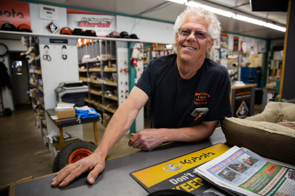Skip Ogden poses for a portrait at Dan's Tractor Inc. on Tuesday, June 18, 2019, near Battle Ground, Wash.