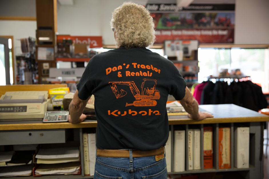 Dan's Tractor Inc. owner Skip Ogden stands at the counter of his Southwest Washington store.