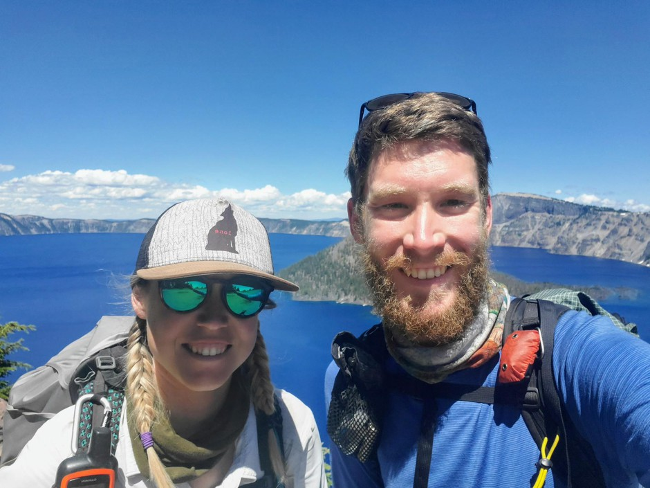 Ben Dickinson and Brittany Heath at Crater Lake in 2019.