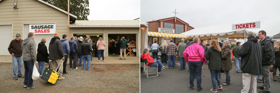 Armed with coolers for bulk sausage purchase and folding chairs for ticket lines, visitors to the Verboort Sausage and Sauerkraut Dinner come prepared.