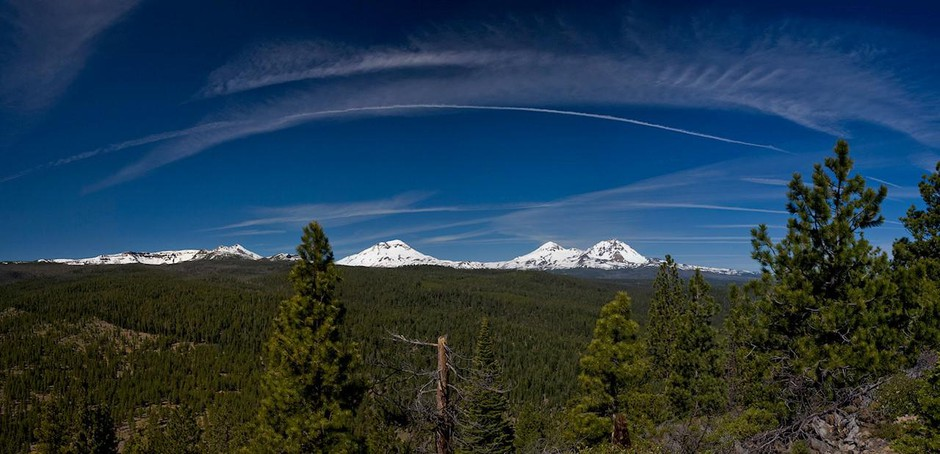A view of the Three Sisters from Bull Springs Skyline Forest, which is up for sale.