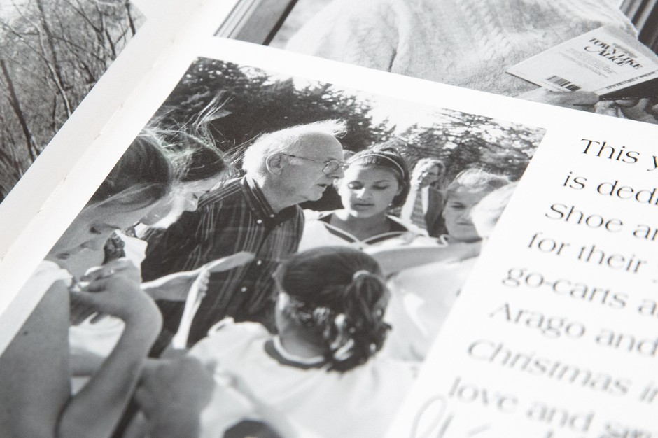 Former Catlin Gabel math teacher Richardson Shoemaker is pictured in an old yearbook displayed at a press conference in Portland, Ore., Tuesday, Feb. 4, 2020. Many former students have accused Shoemaker of sexually abusing them as children. Shoemaker was forced into retirement in 2001 and died in 2018.