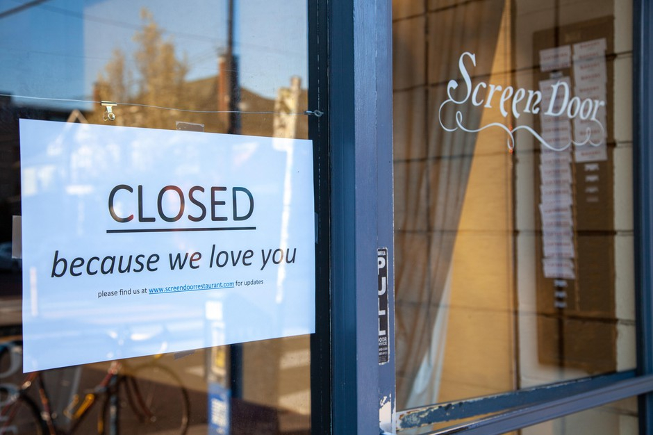 A handmadeclosed sign taped to thewindow of one ofPortland, Oregon's busiest restaurants, Screen Door.Their brunch and dinnerlines usually stretchout the door and spill onto the sidewalk.On Monday, March 16, 2020, Gov. Kate Brown ordered restaurants and bars to stop all on-site dining and limit food sales to takeout and delivery service only to help prevent the spread of the new coronavirus.