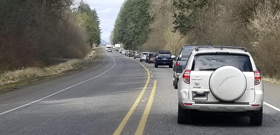 A solid line of westbound traffic greeted beach-goers on Highway 26 over the weekend of March 21, 2020