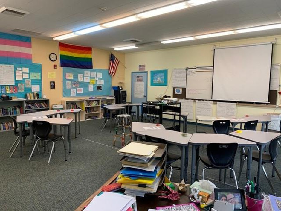 Justin Ryland's classroom sits empty on Wednesday, May 20, 2020, amid the ongoing coronavirus pandemic.