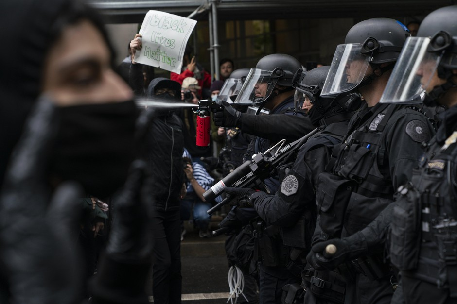 Portland police used tear gas and rubber bullets to disperse protesters from near the Justice Center an hour before the 8 p.m. curfew went into effect on May 30, 2020.