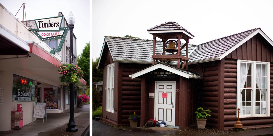 Left: Timbers, a restaurant in Toledo, Oregon; right: The Little Log Church and Museum in Yachats, Oregon. Toledo and Yachats are both in Lincoln County.