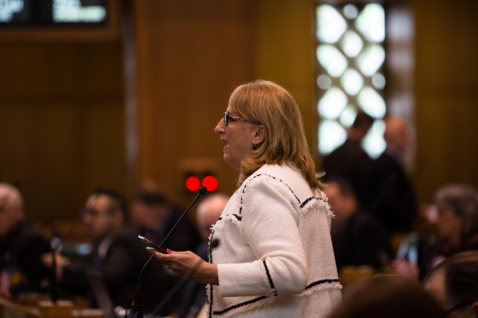 State Rep. Denyc Boles, R-Salem, introduces legislation on the House floor at the Capitol in Salem, Ore., Tuesday, April 2, 2019.