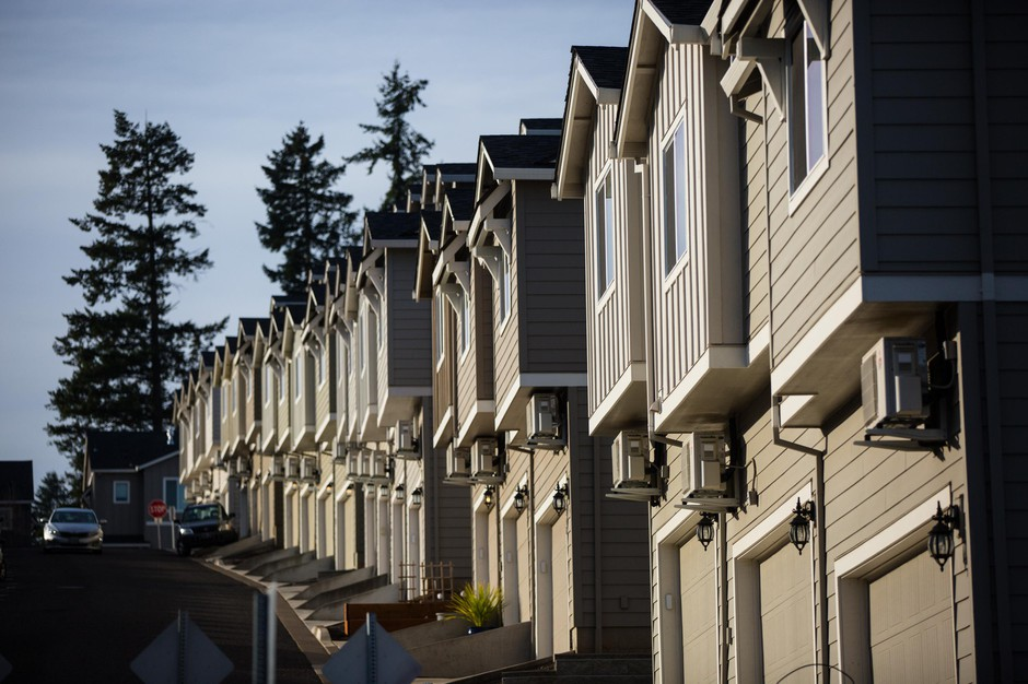 Townhomes in the Morningside community of Happy Valley, Ore., are pictured Saturday, Jan. 12, 2019.
