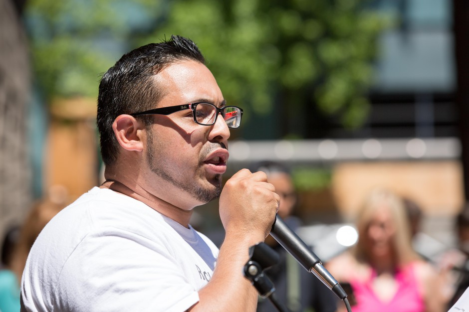 Oregon state Rep. Diego Hernandez, D-Portland, speaks at a rally Sunday, June 24, 2018, in Portland, Ore.